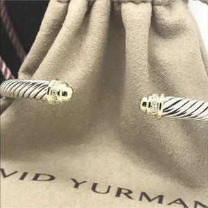 DY 18k& Diamond Cuff Bangle 5mm Cable SZ Medium
